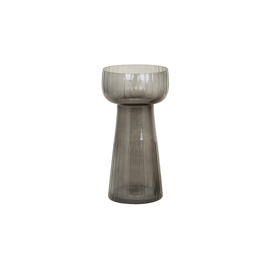 Hyacinth Vase Etched Stripe Small Dark Grey