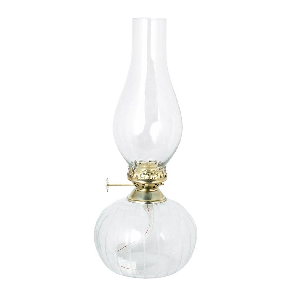 Kerosene Lamp Oval Clear Brass