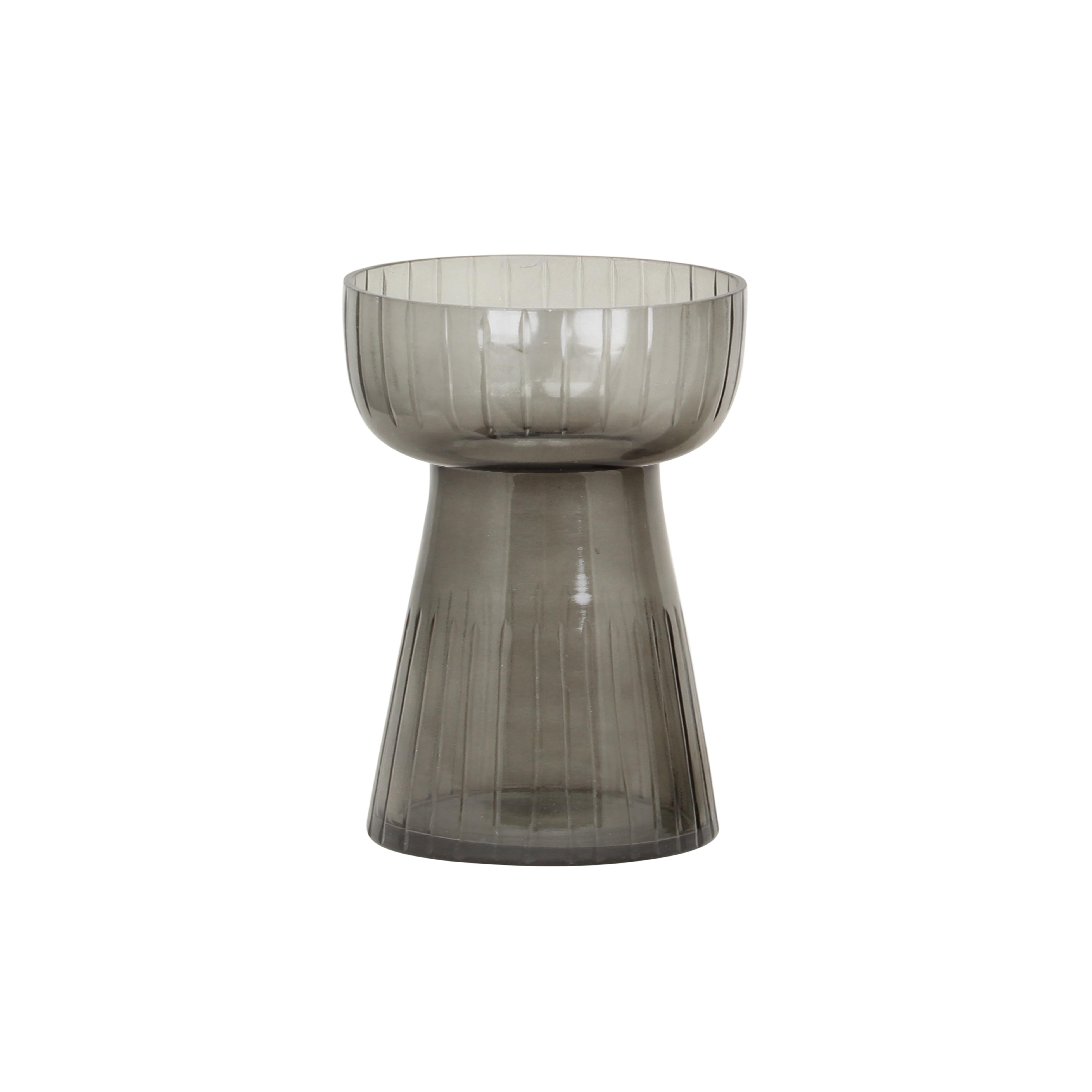 Hyacinth Vase Etched Stripe Low Grey