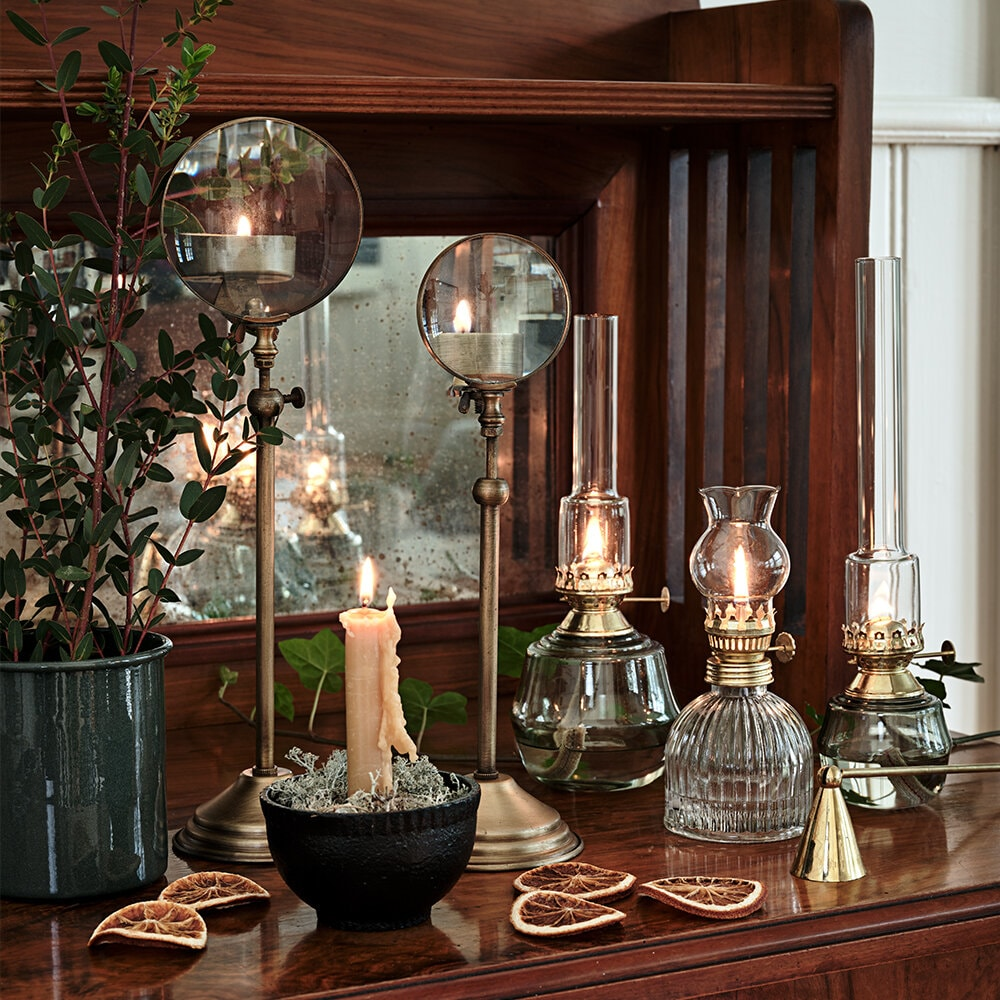 Kerosene Lamp Majken Green Brass Medium