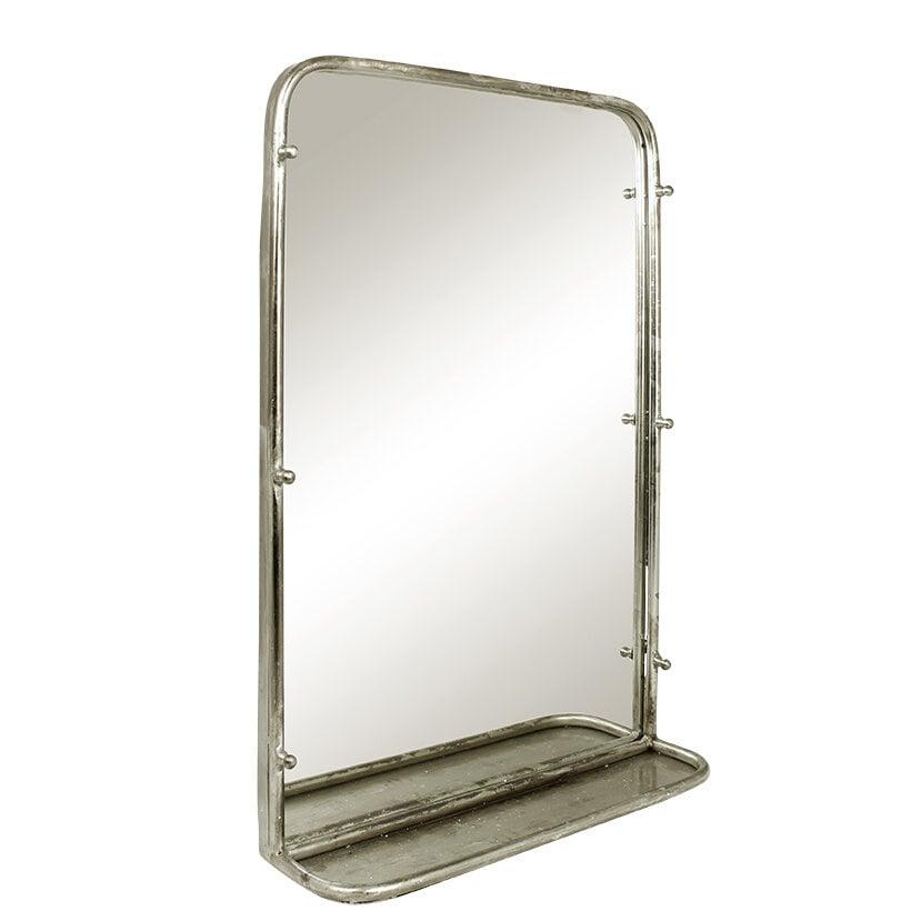 Mirror Karin w. Shelf Antique Silver Large
