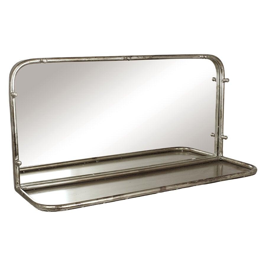 Mirror Karin w. Shelf Antique Silver Wide