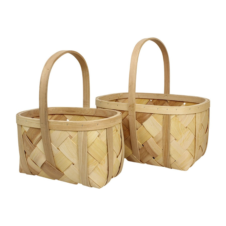 Wood Basket Oval S/2