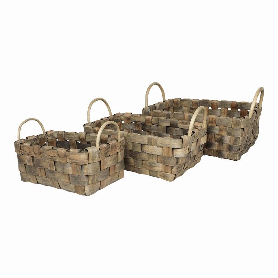 Wooden Basket Rectangular S/3 Grey