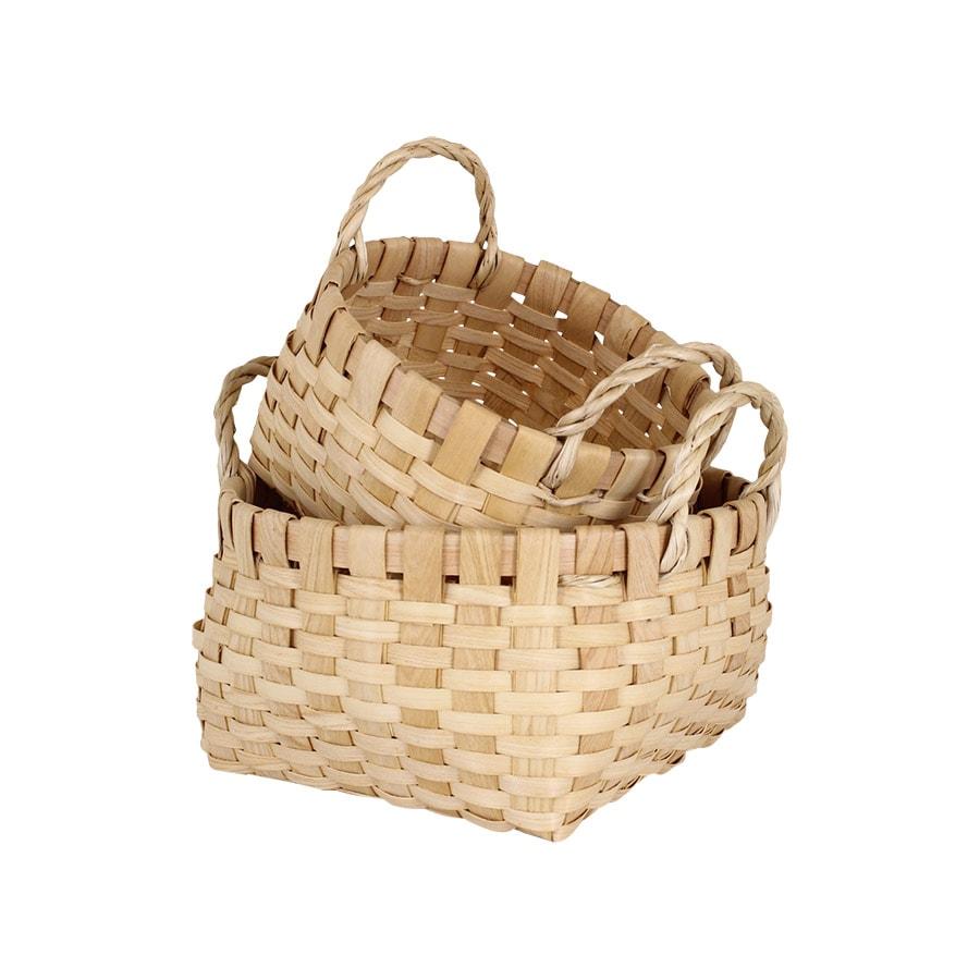 Wood Basket Kerstin Round S/2 Nature