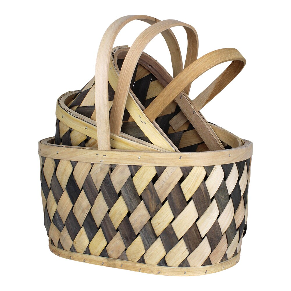 Wood Basket Vera S/3 Grey/Nature