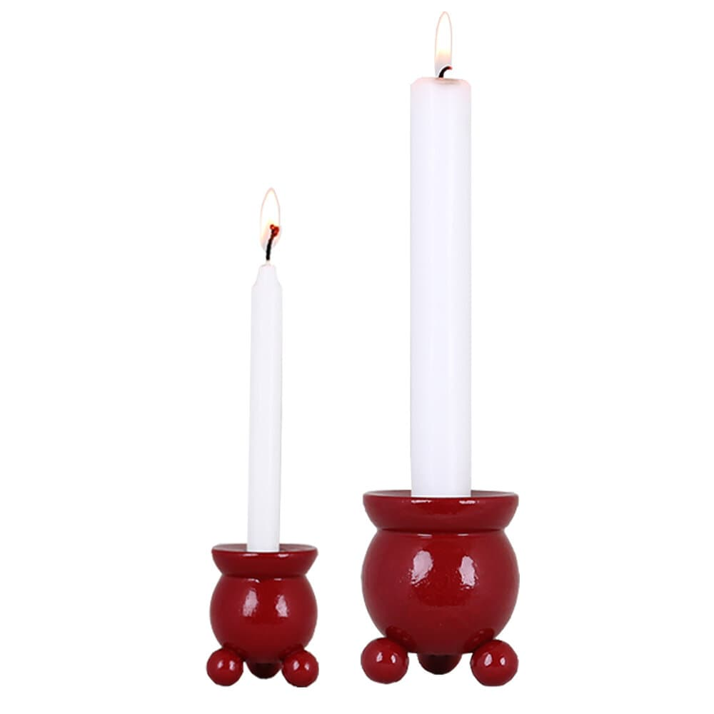 Round Candle Holder for Christmas Candle Red