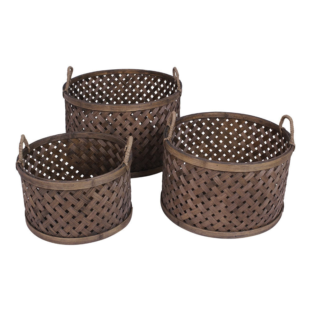 Round Basket w. Handle Ida S/3