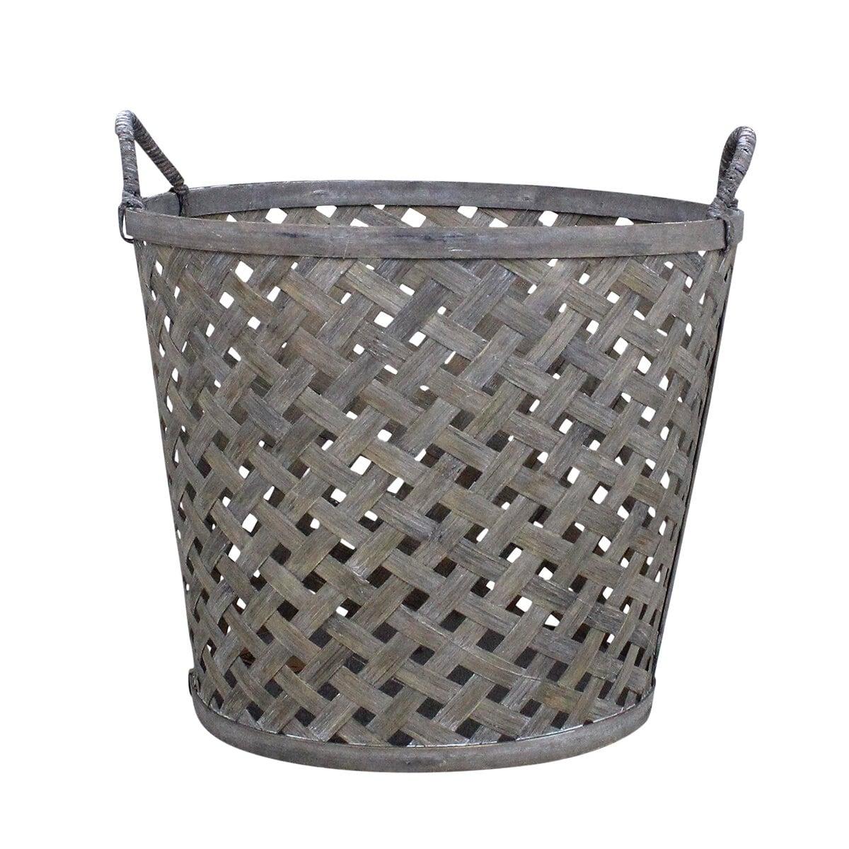 Coned Basket w. Handle Ida Grey Large