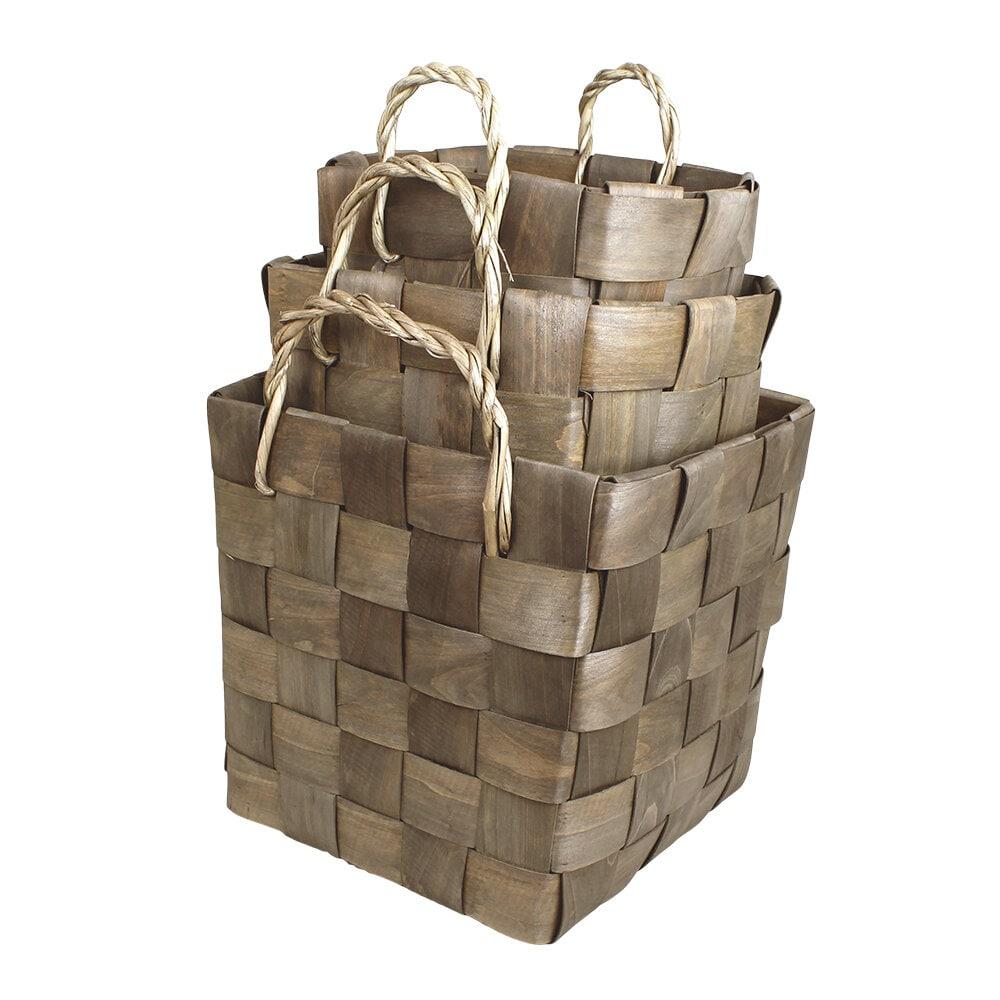 Wooden Basket Marita S/3 Grey