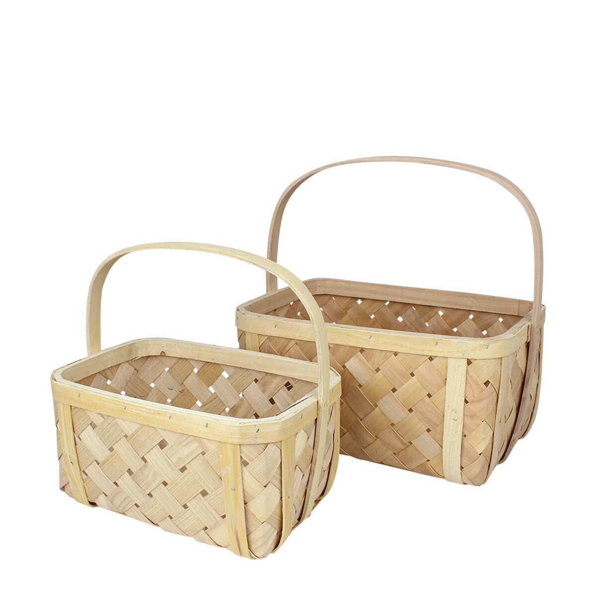 Wood Basket Elsa S/2 Nature