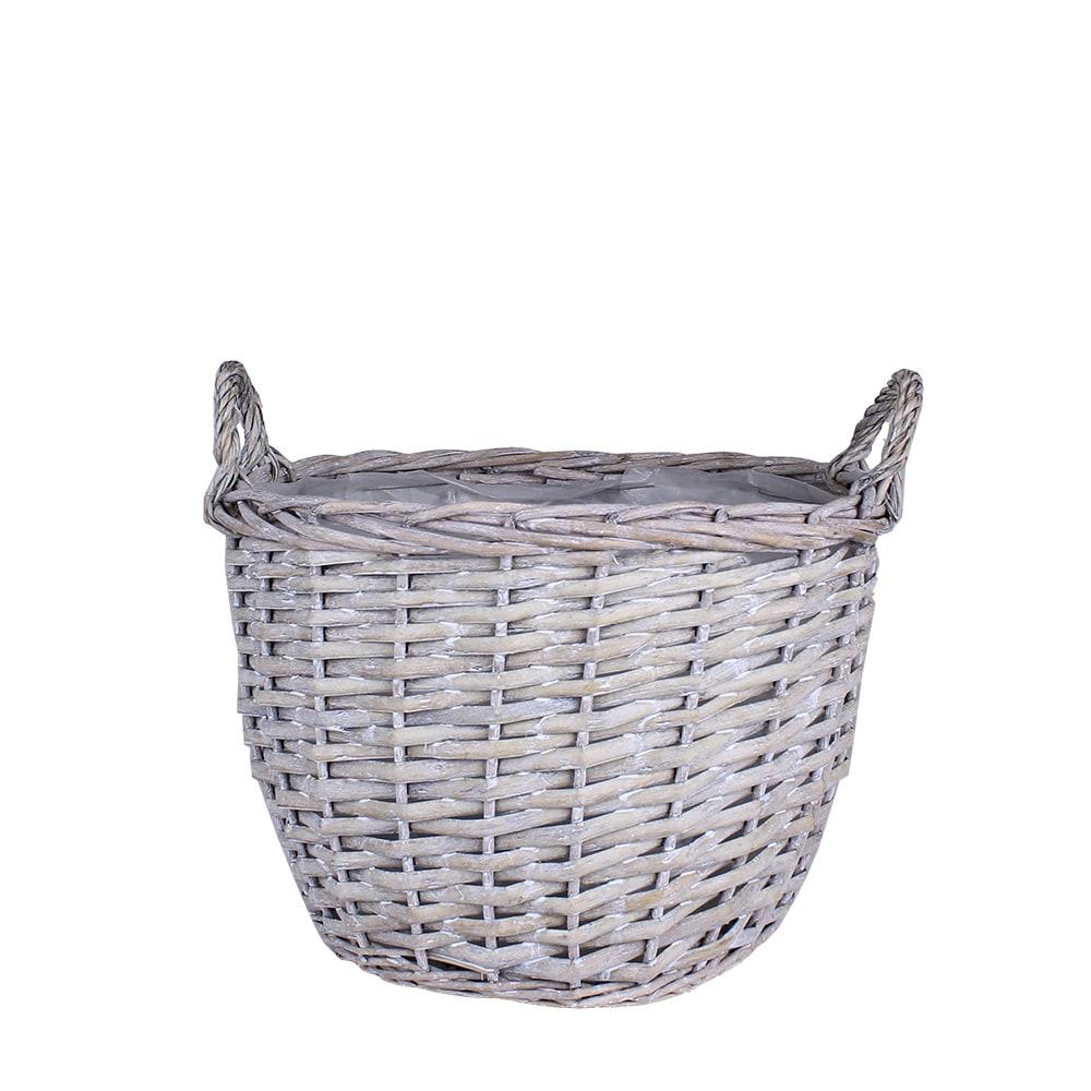 Willow Basket Pot S/3 Grey