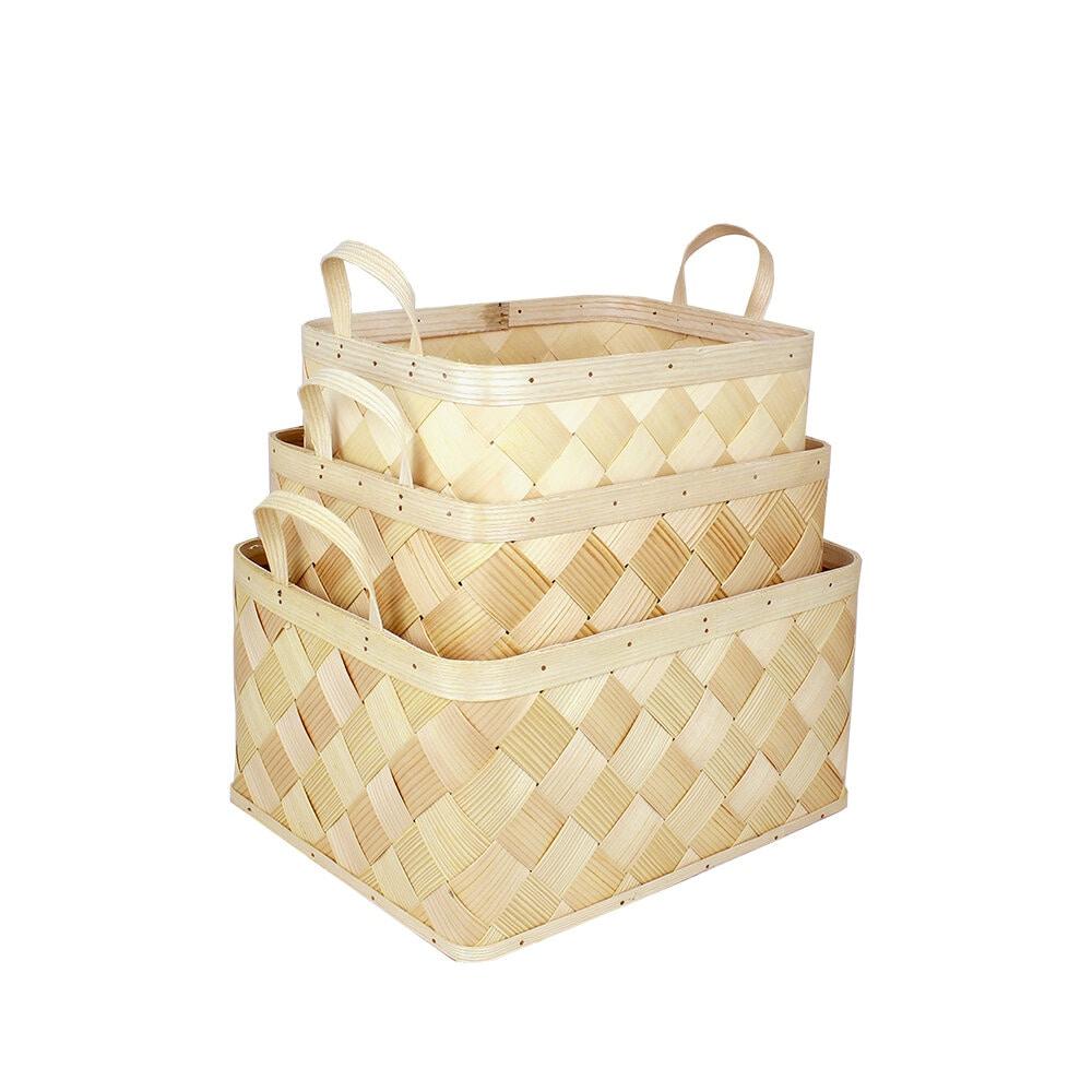 Wood Basket Ines S/3