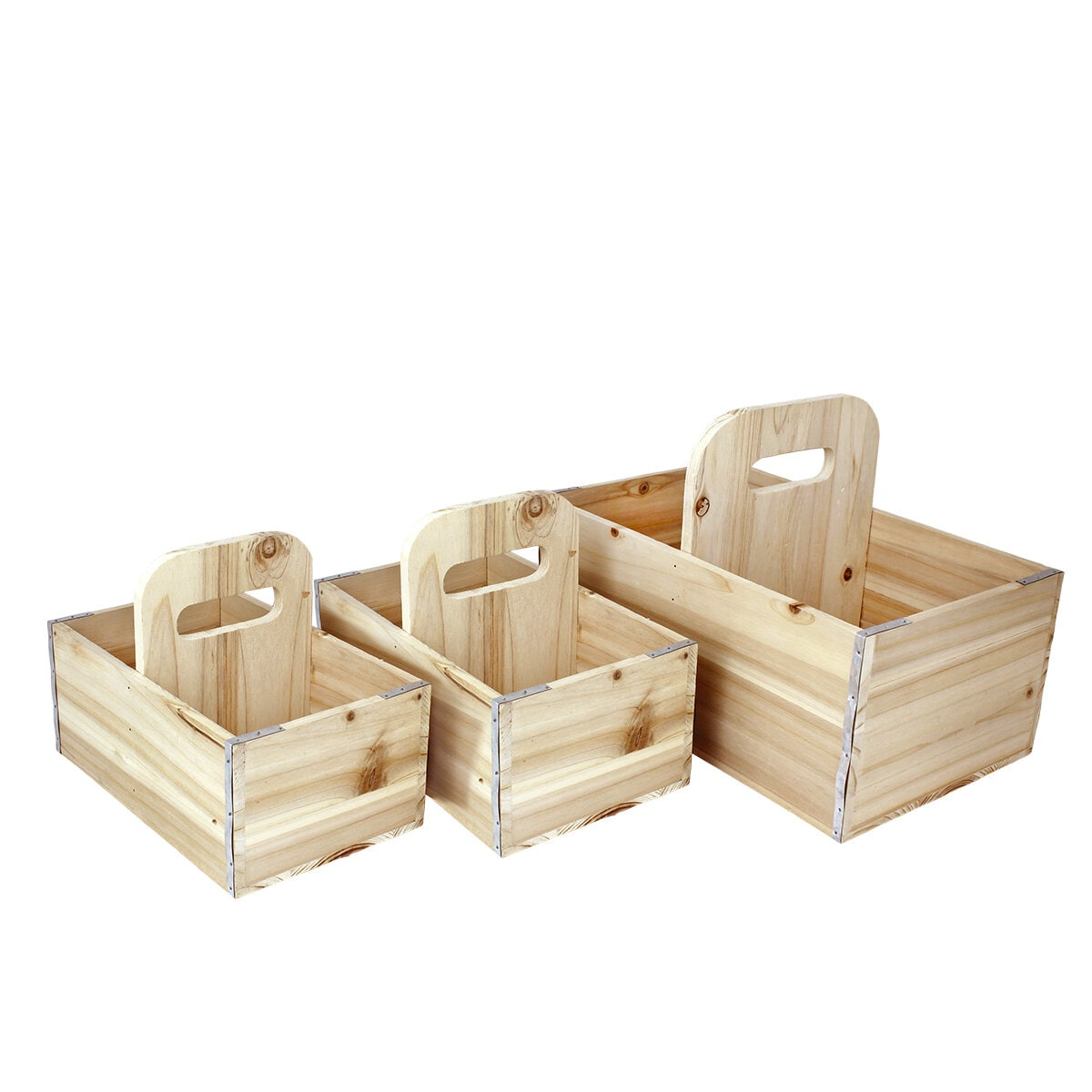 Wooden Box Arne w. Centered Handle S/3