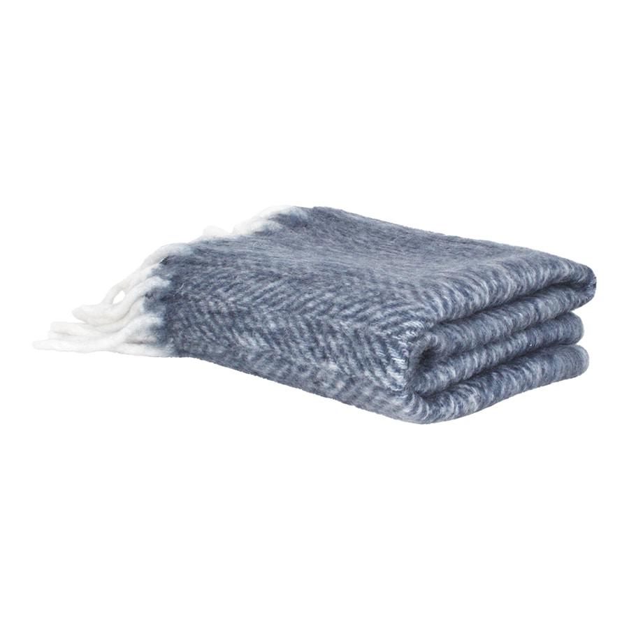 Wool Plaid Blue w. Light Fringes