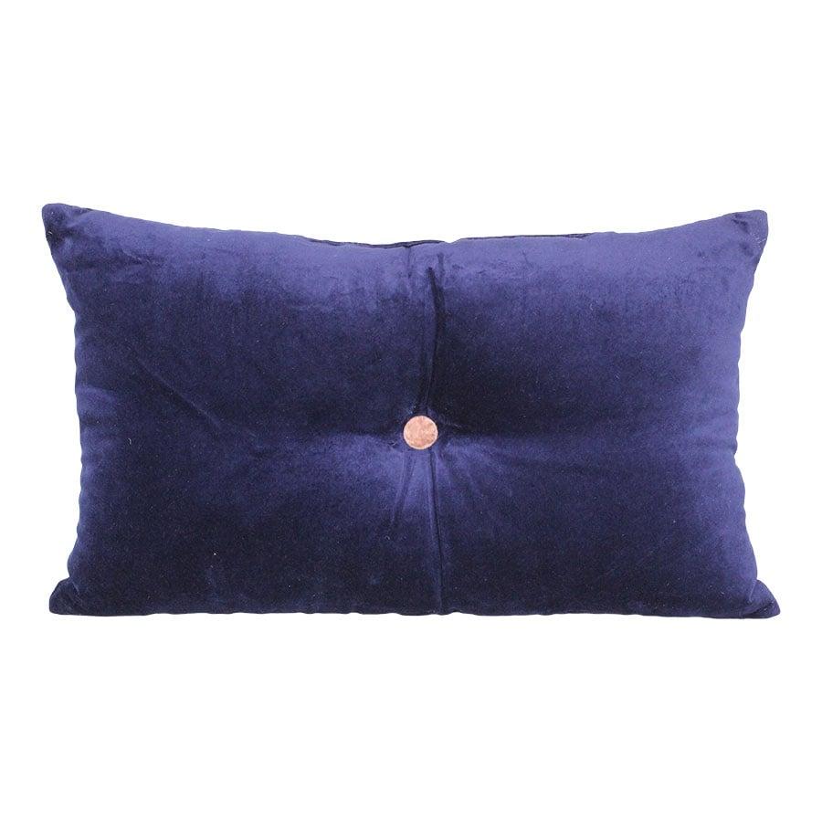 Cushion Velvet Button Blue