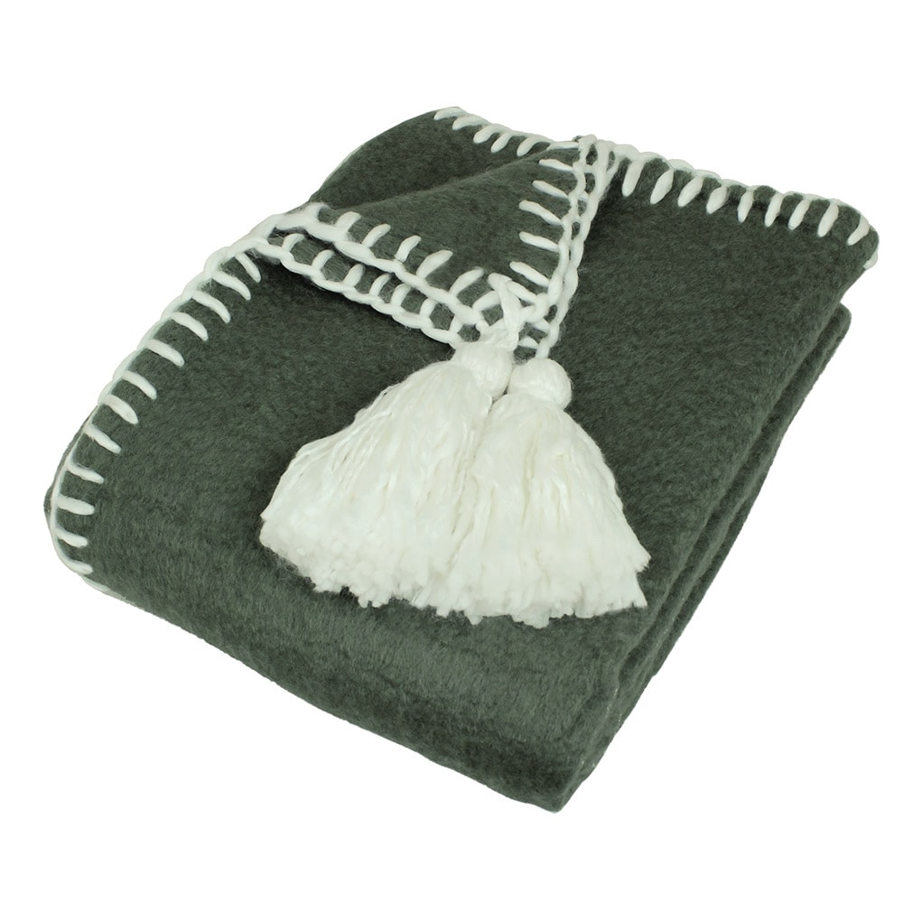 Wool Plaid Elly Olive/White