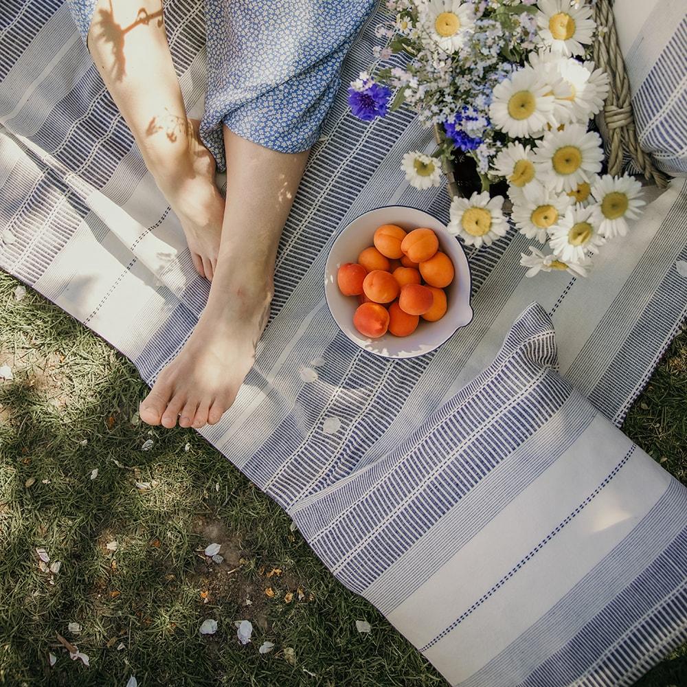 Table cloth Marianne Blue/White