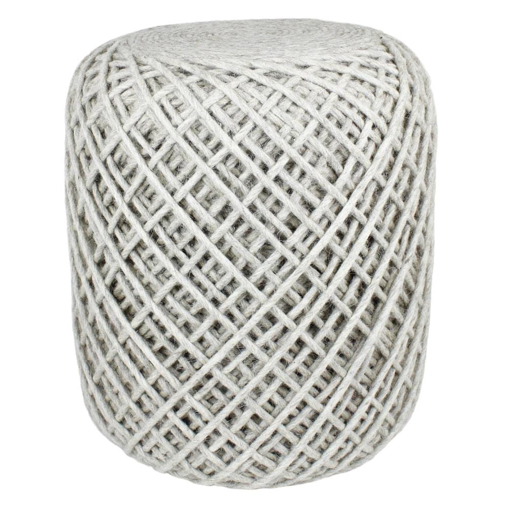 Seat Pouf Wool Yarn Light Beige