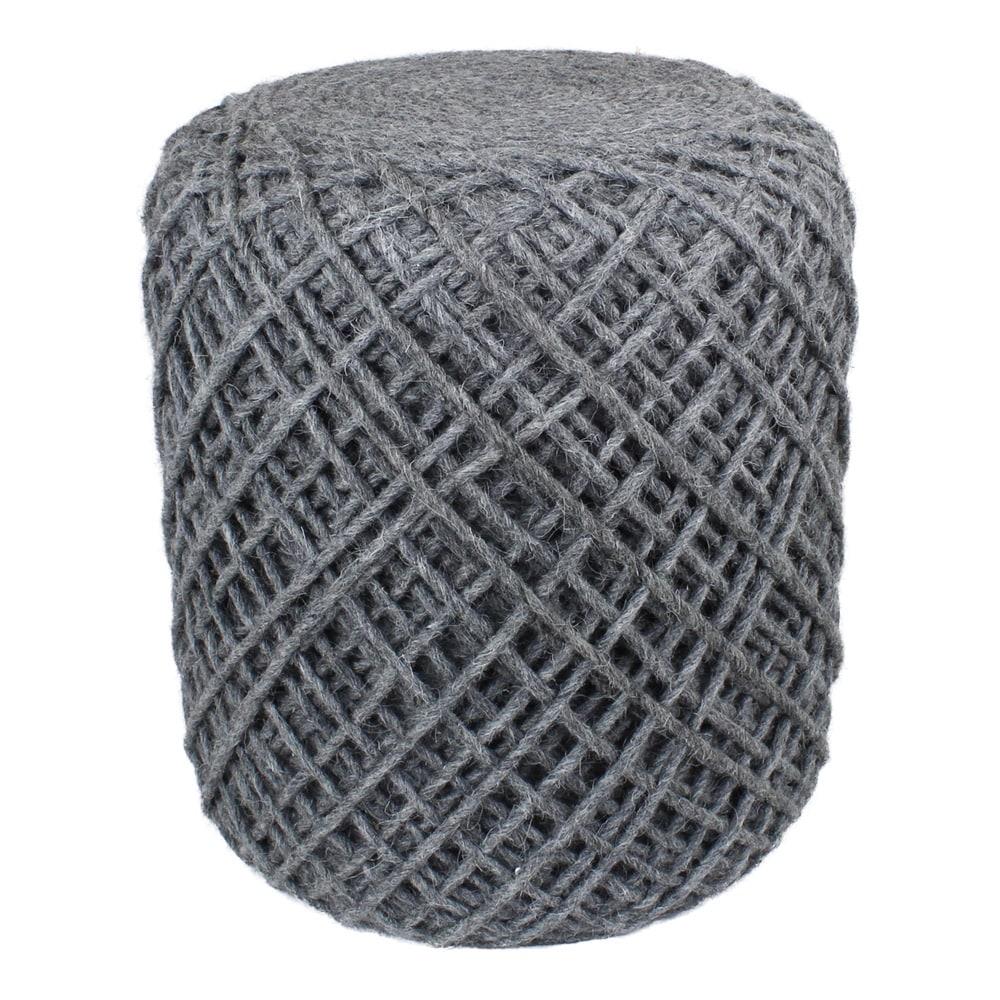 Seat Pouf Wool Yarn Grey