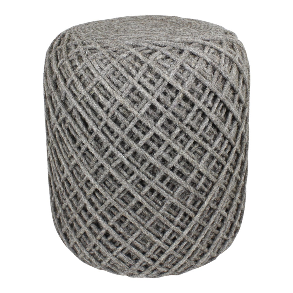Seat Pouf Wool Yarn Beige/Grey