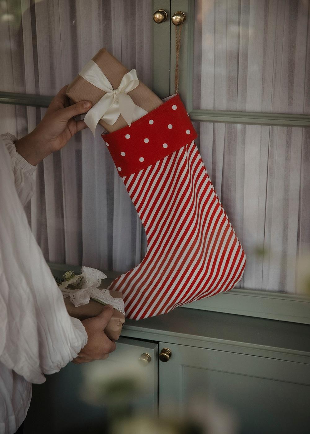 Christmas Sock Stripe Red/White