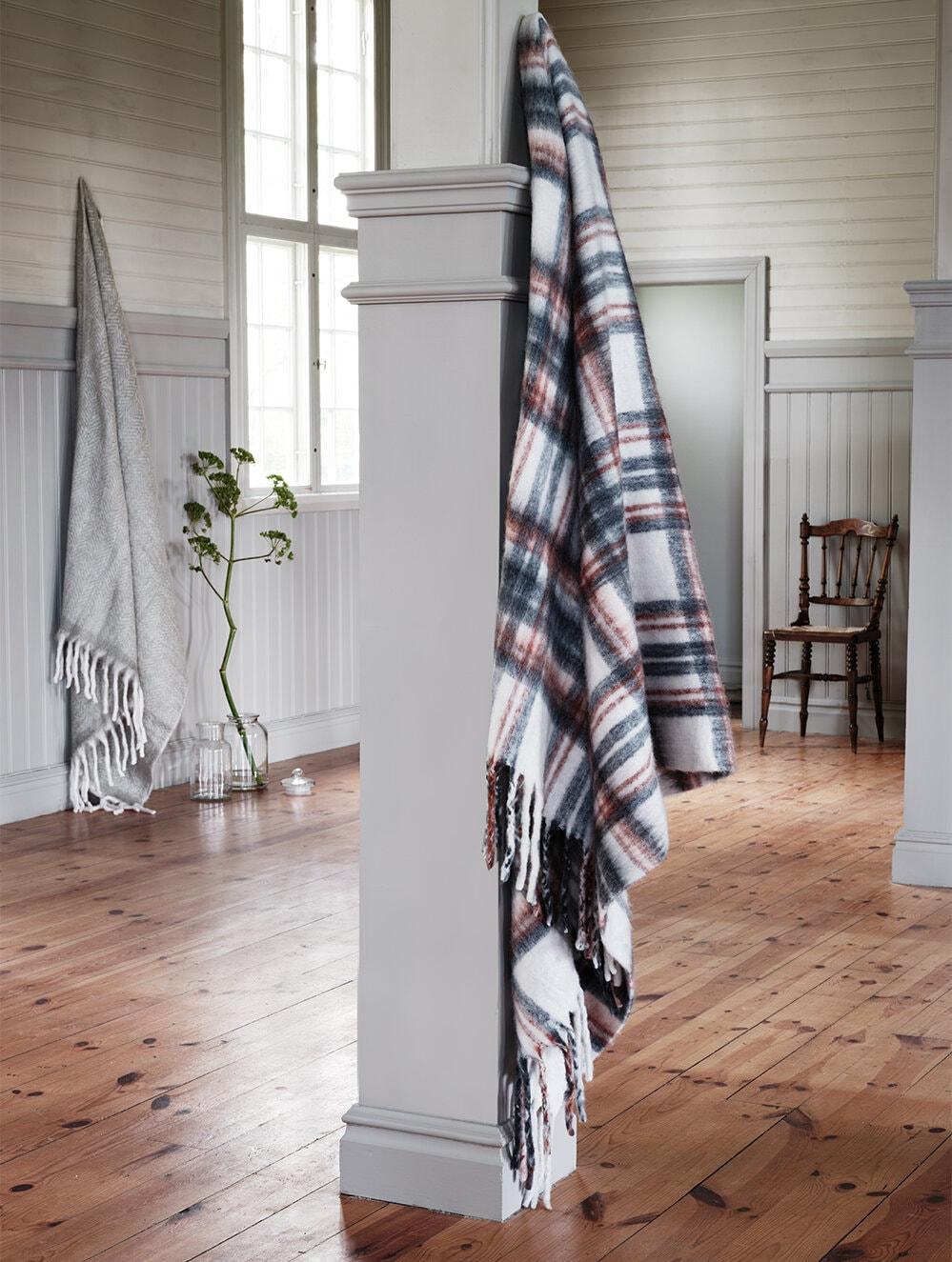 Wool Plaid Siv Grey/Terracotta