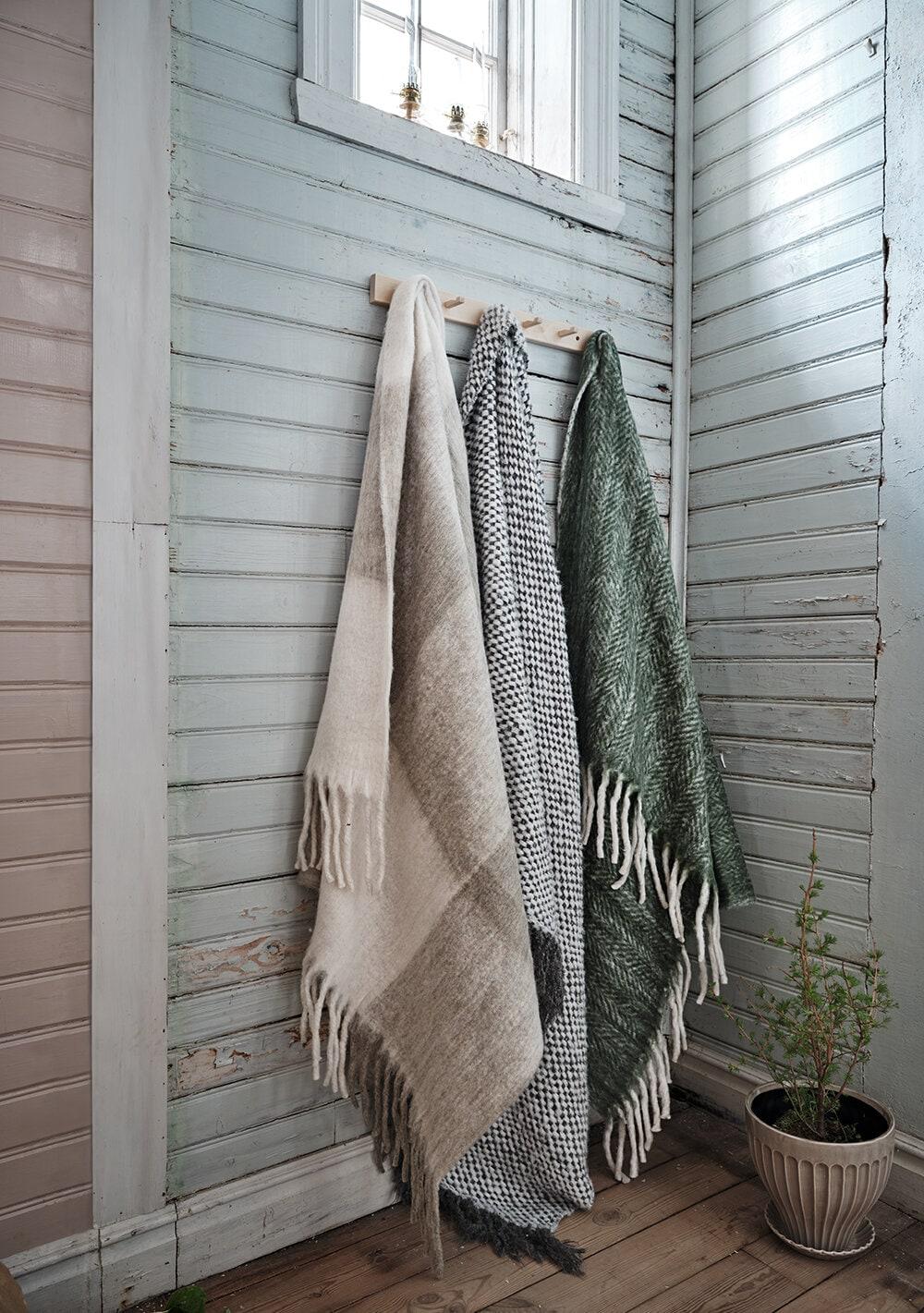 Wool Plaid Rut Beige/White