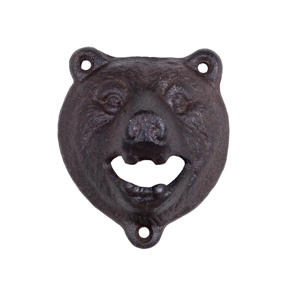 Bottle Opener Bear Iron Antique Brown