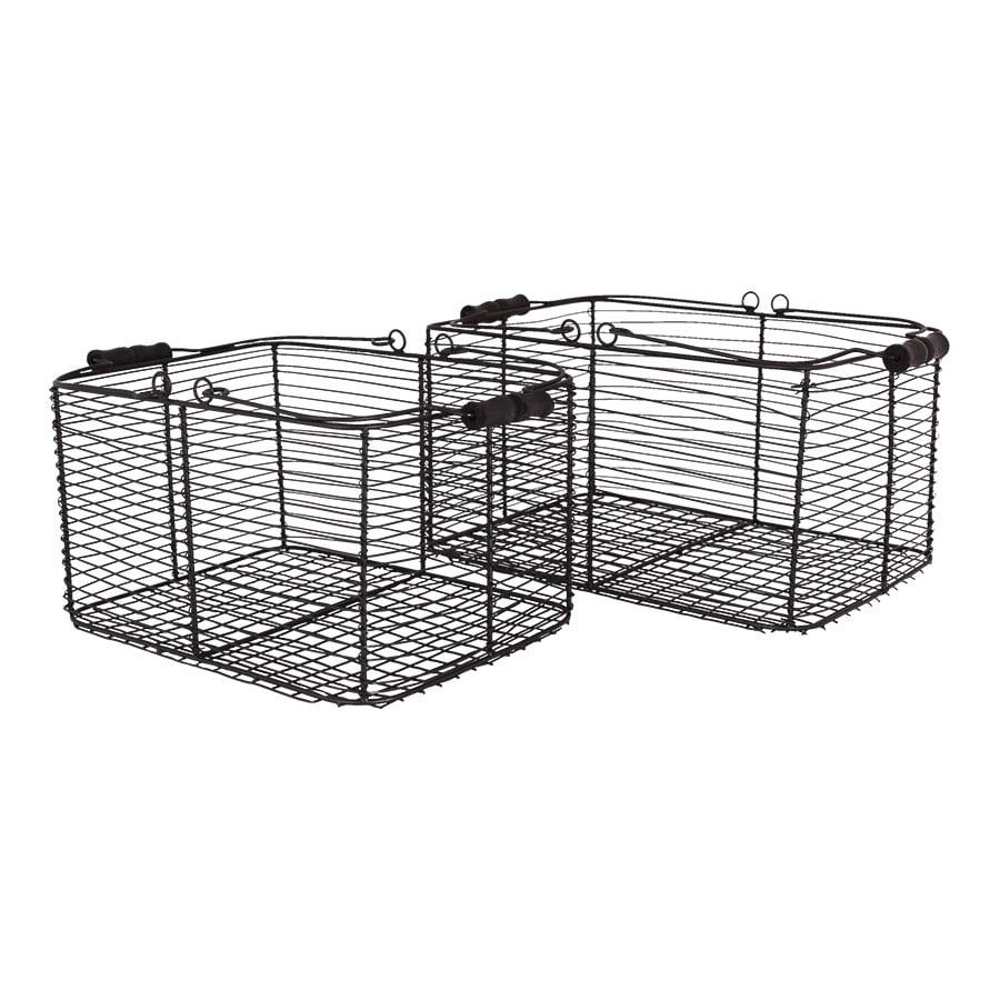 Wire Basket w. Handles Rectangular S/2 Black