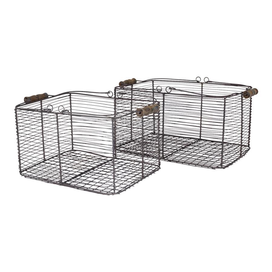 Wire Basket w. Handles Rectangular S/2 Zinc