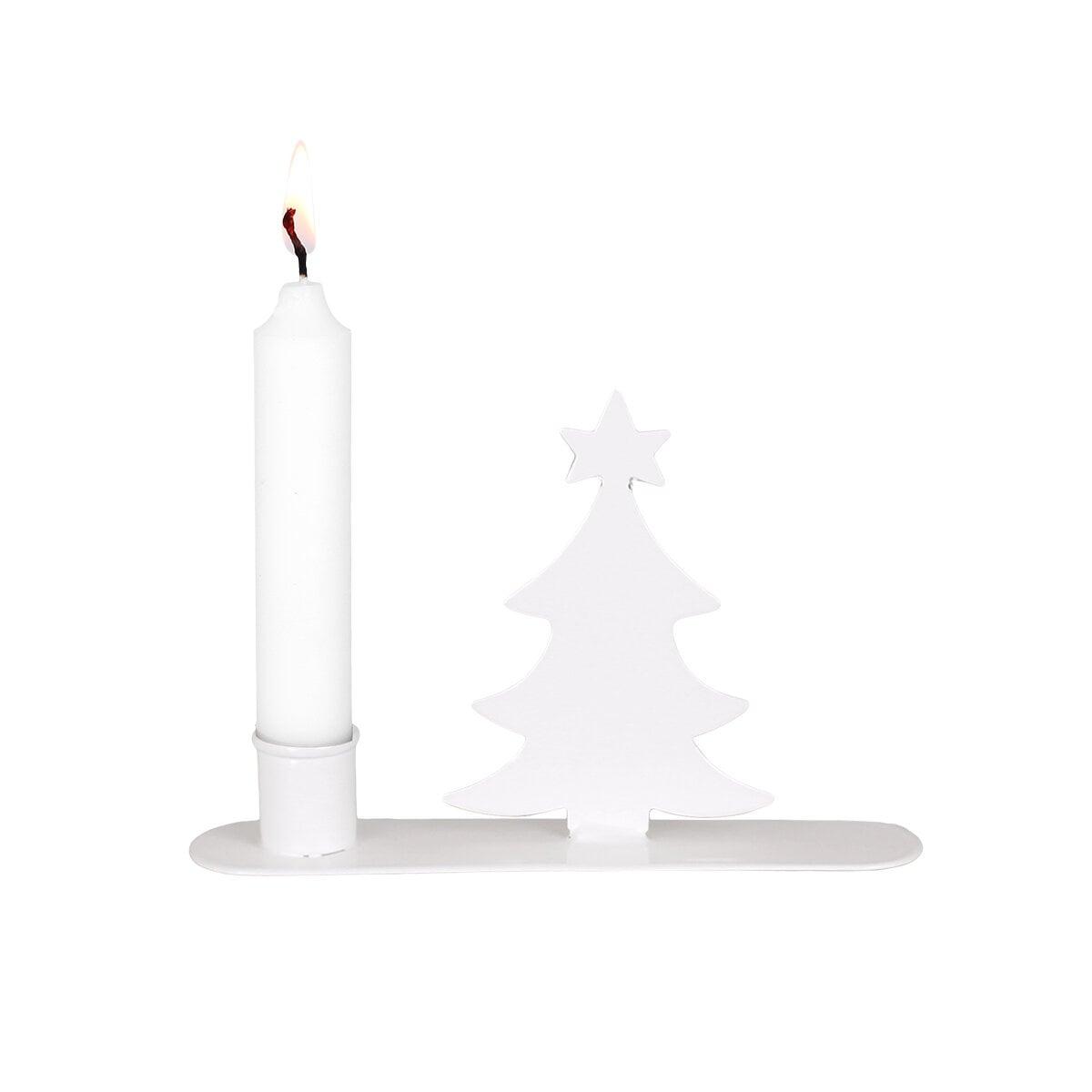 Candle Holder Christmas Tree White