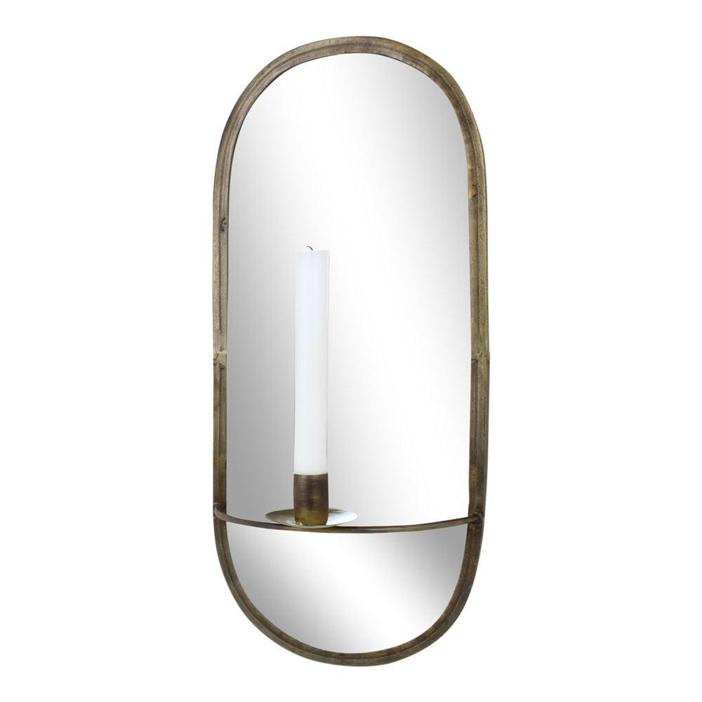 Mirror w. Candle Holder Antique Brass