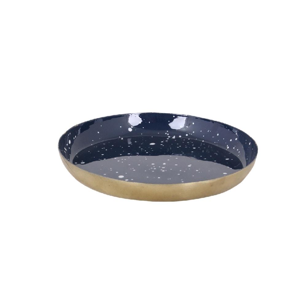 Small Tray Round Blue/Brass