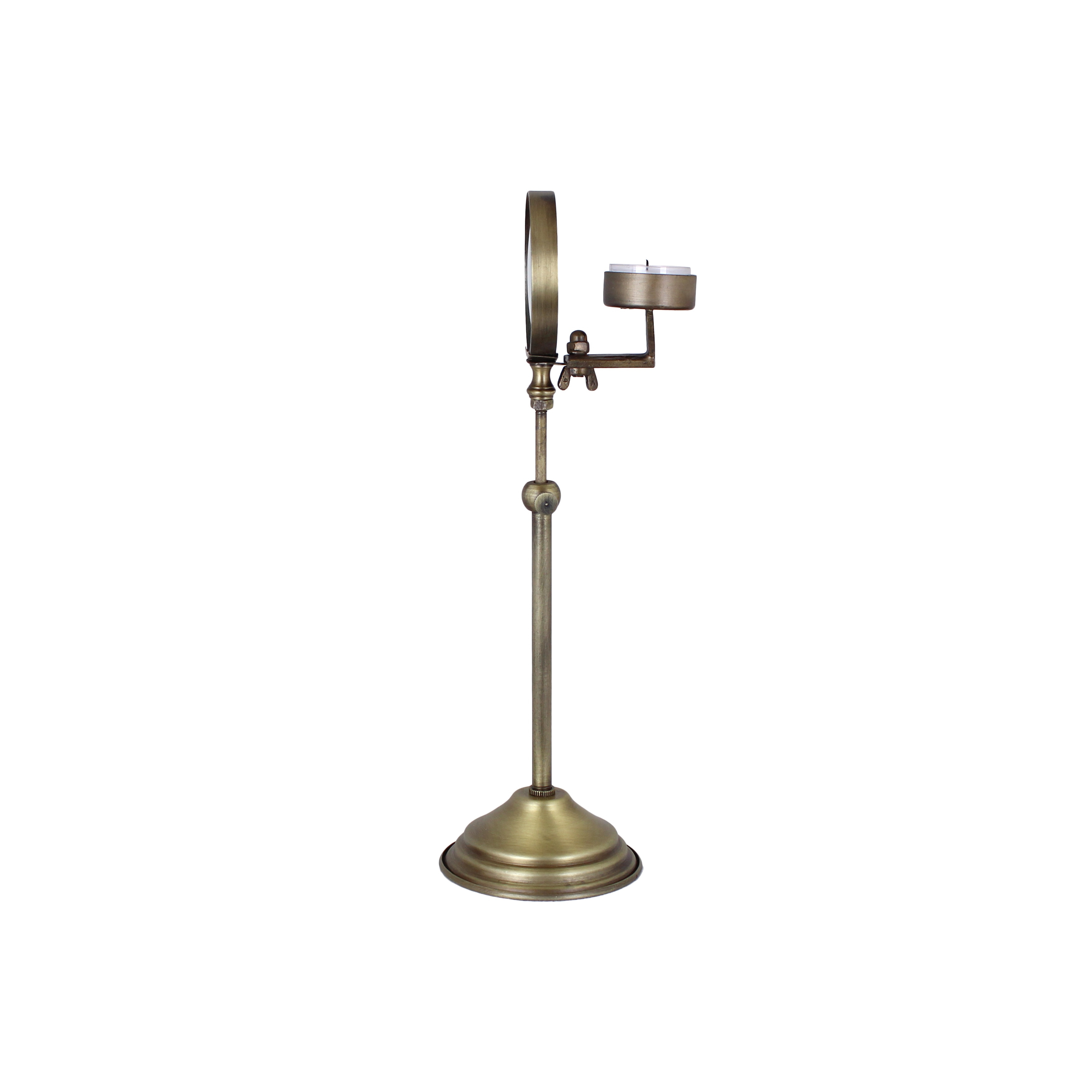 Magnifying Candle Holder Antique Brass Small