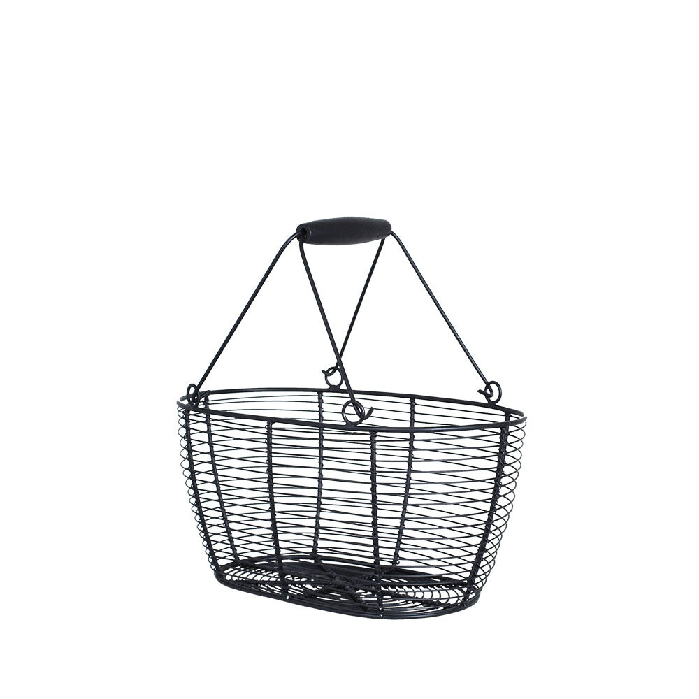Wire Basket Oval Black Small