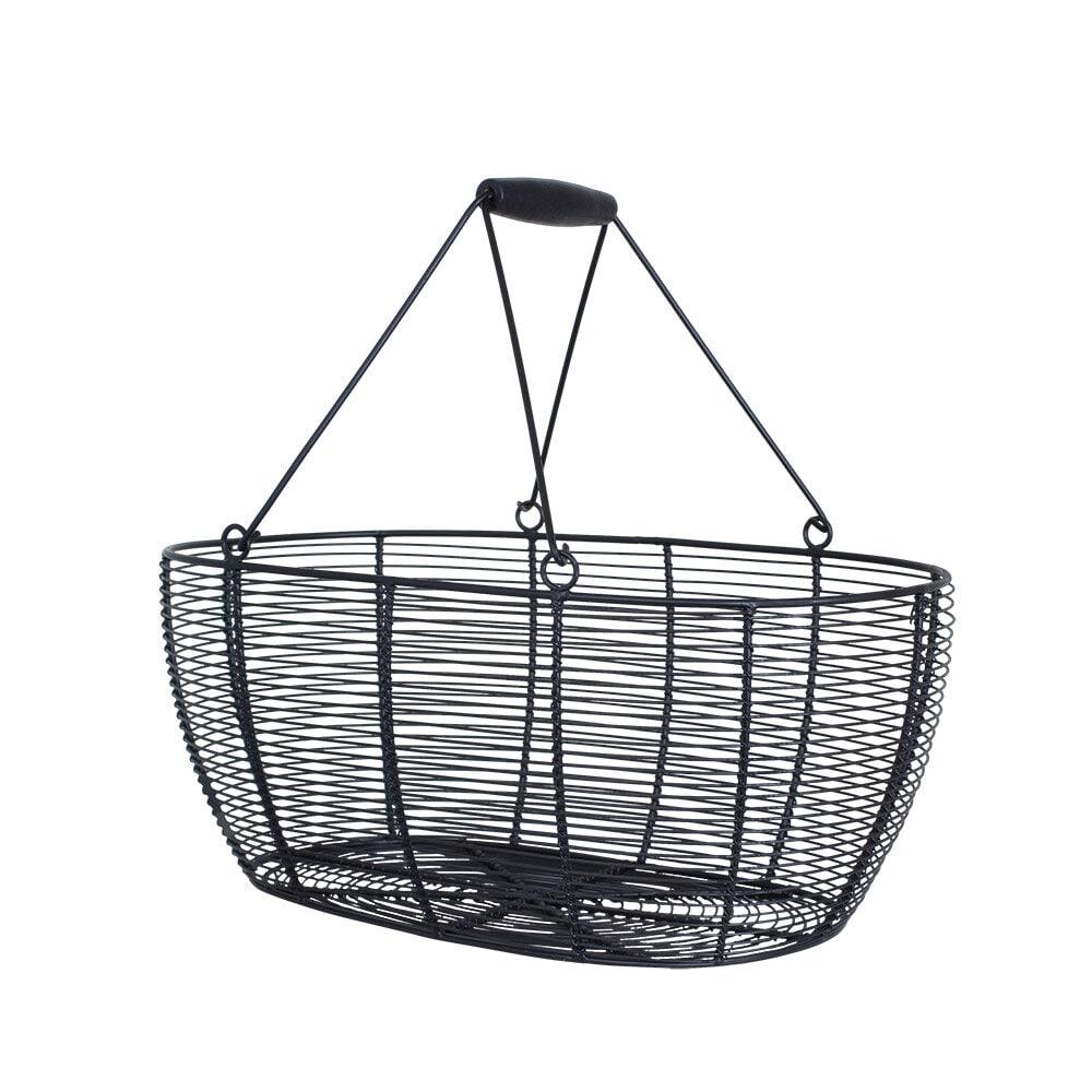 Wire Basket Oval Black Large