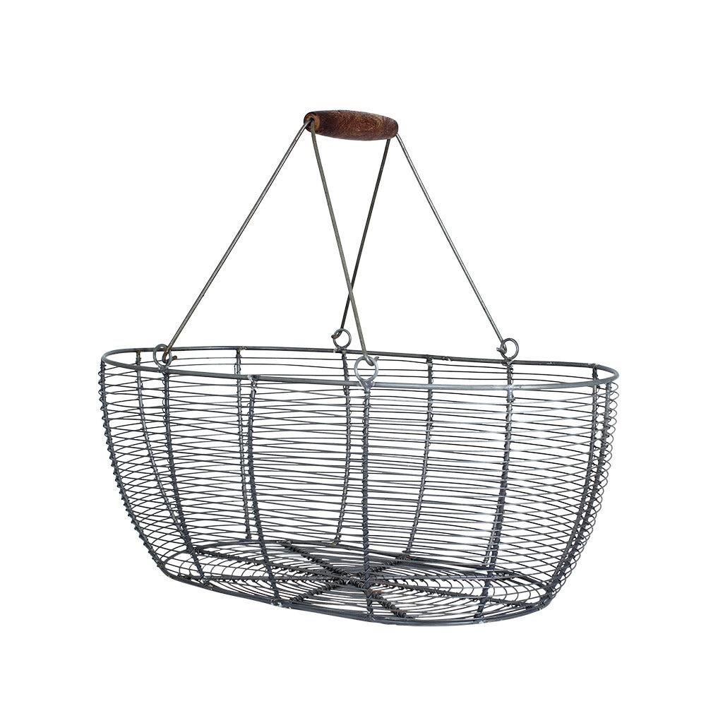Wire Basket Oval Zinc Large