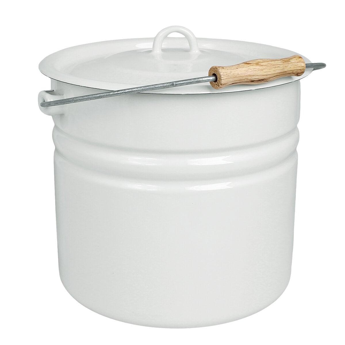 Bucket w. Lid Emil´s Enamel 12L Offwhite
