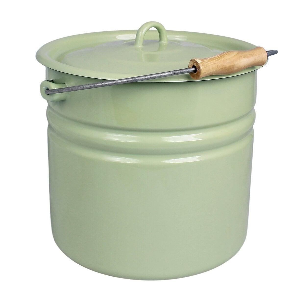 Bucket w. Lid Emil´s Enamel 12L Green