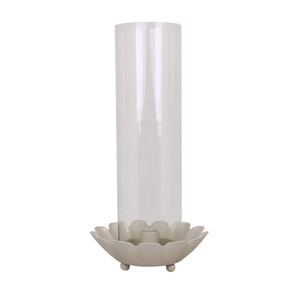Candle Holder w. Glass Pipe Ingrid Beige