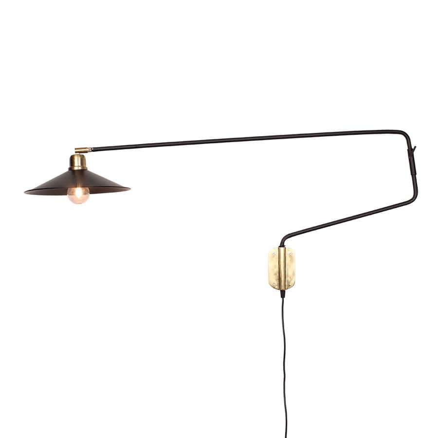Wall Lamp Long Arm Black/Brass