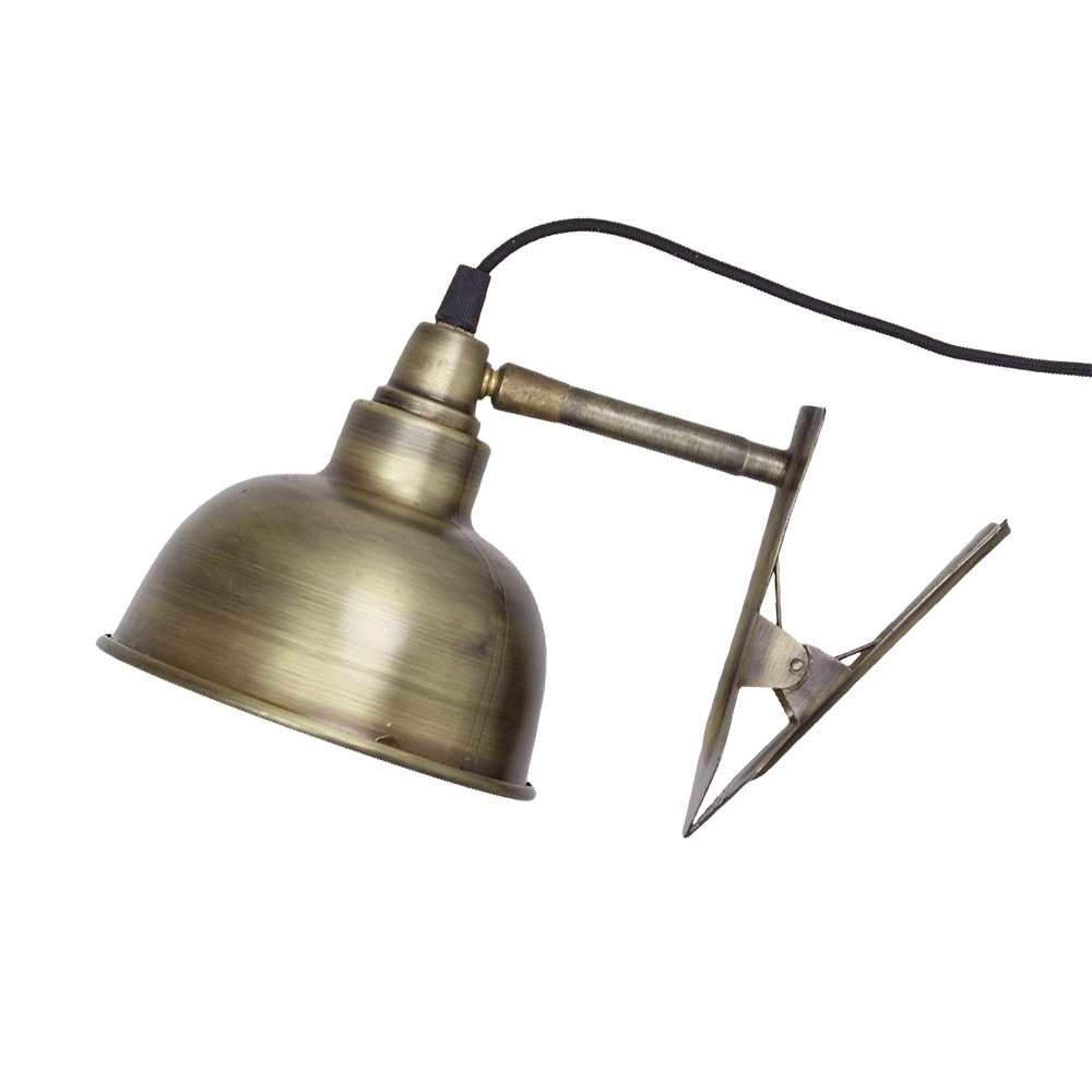 Wall Lamp w. Clip Antique Brass