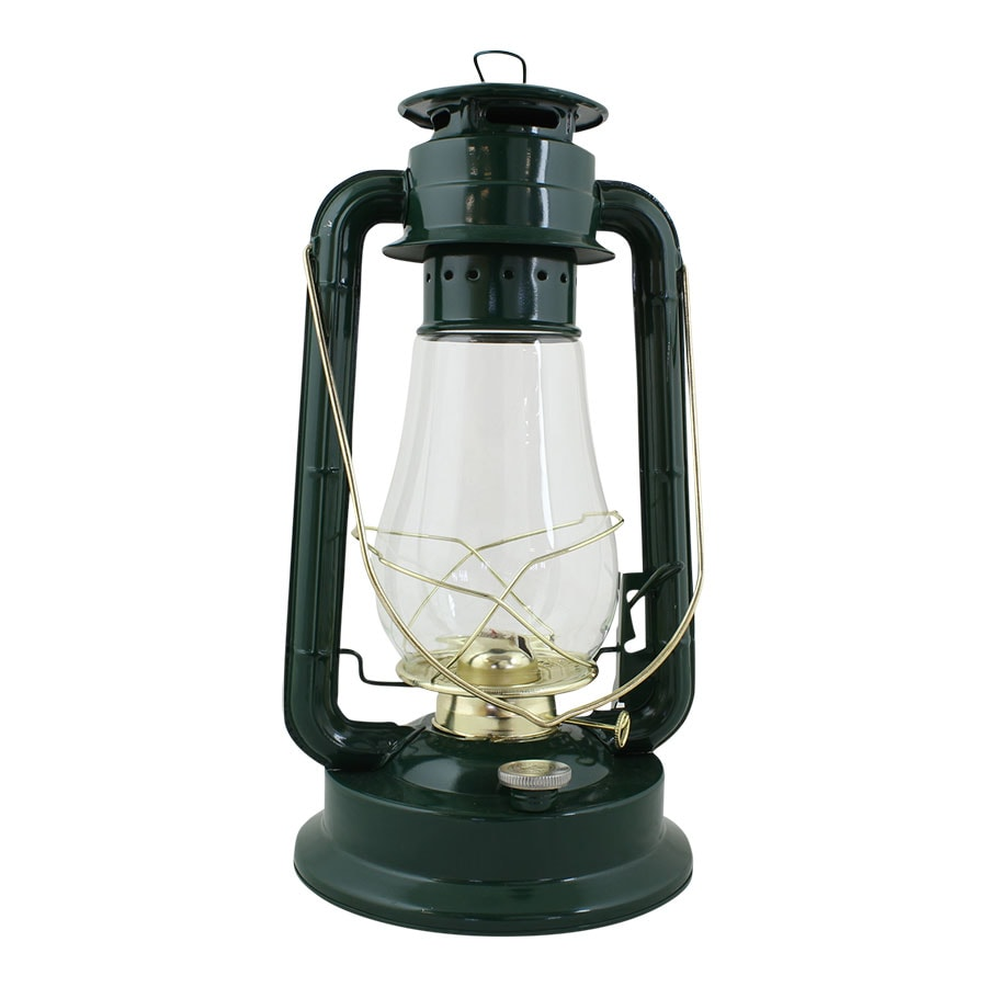 Hurricane Lantern Green/Brass Large