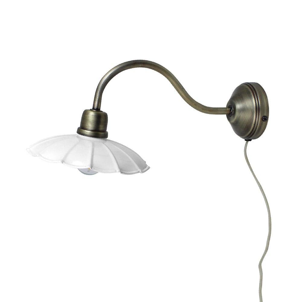 Wall Lamp Gustav White/Antique Brass