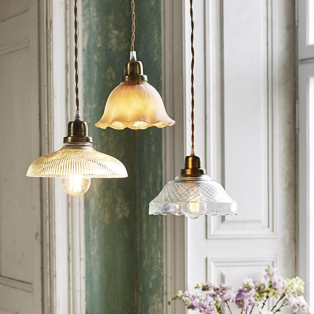 Pendant Lamp Greta Wavy Pink/Antique Brass